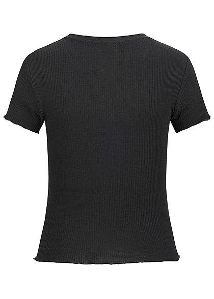 Hailys Damen Ribbed T-Shirt kurzer Schnitt schwarz
