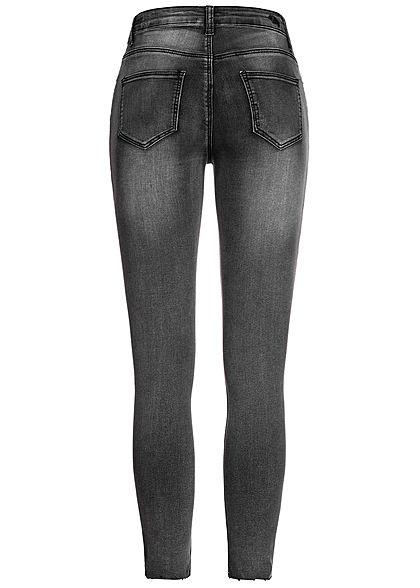 Hailys Damen Ankle Skinny Jeans Hose 2-Pockets Cutted Knee dunkel grau denim