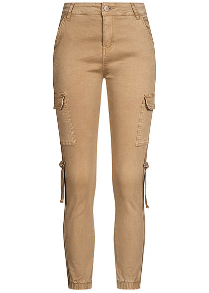 Hailys Damen High-Waist Cargo Jeans Hose 6-Pockets beige denim