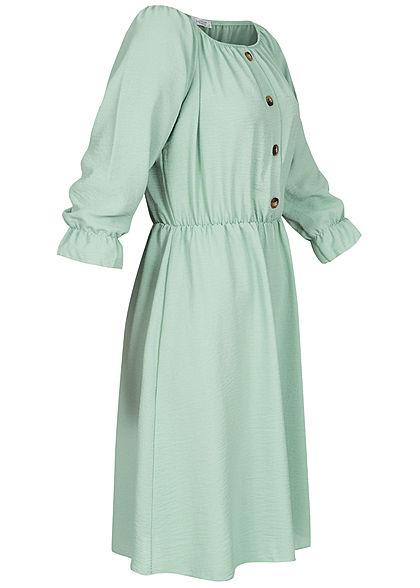 Hailys Damen Off-Shoulder Mini Kleid Deko Knopfleiste jade grün