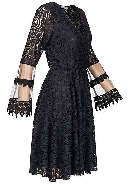 Hailys Damen V-Neck Mini Kleid Allover Spitze & Mesh Details 2-lagig schwarz