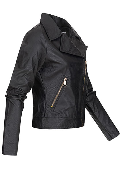 Hailys Damen kurze Kunstleder Jacke 2-Deko Taschen asymmetr. Zipper schwarz