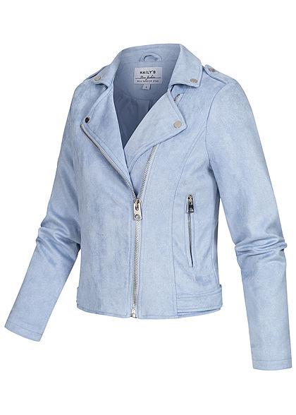 Hailys Damen Kunstleder Jacke Velour-Optik 2-Pockets assymtr Zipper hell blau