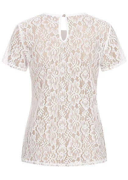 Hailys Damen T-Shirt Allover Spitze 2-lagig off weiss