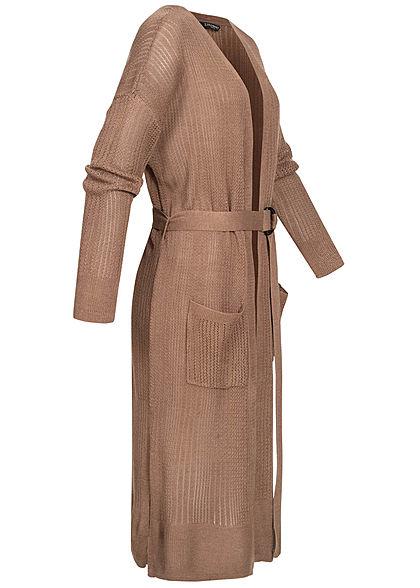 Zabaione Damen Long Cardigan 2-Pockets inkl. Bindegürtel Schlitz seitlich braun