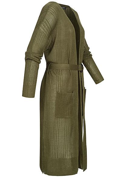 Zabaione Damen Long Cardigan 2-Pockets inkl. Bindegürtel Schlitz seitlich khaki