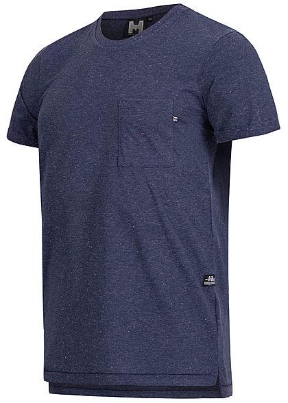 Hailys Herren Melange T-Shirt Brusttasche navy blau mc