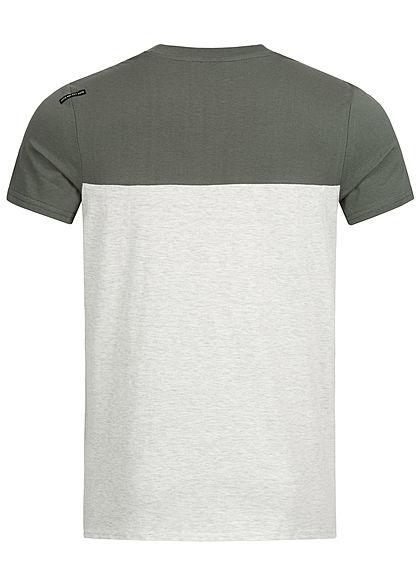 Hailys Herren 2-Tone Melange T-Shirt mit Brusttasche khaki grün hell grau
