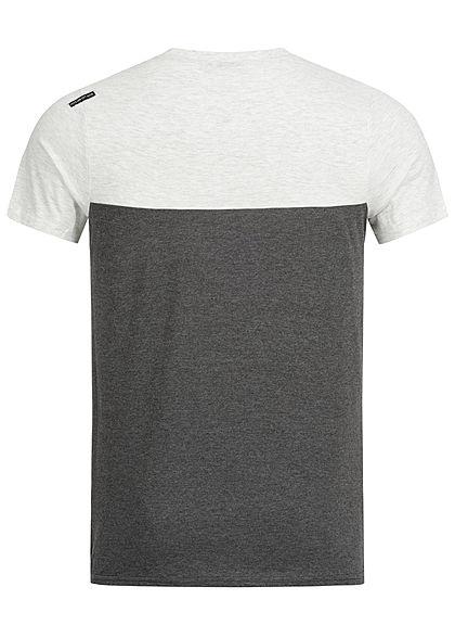Hailys Men 2-Tone Melange T-Shirt mit Brusttasche hell grau anthrazit