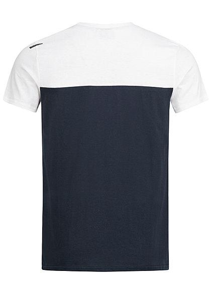 Hailys Herren 2-Tone Melange T-Shirt mit Brusttasche weiss navy blau