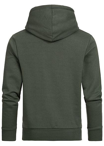 Hailys Herren Hoodie Kapuze California Print Kängurutasche khaki dunkel grün