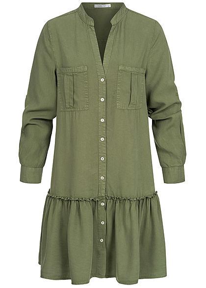 Hailys Damen V-Neck Turn-Up Kleid 2 Brusttaschen Knopfleiste khaki grün