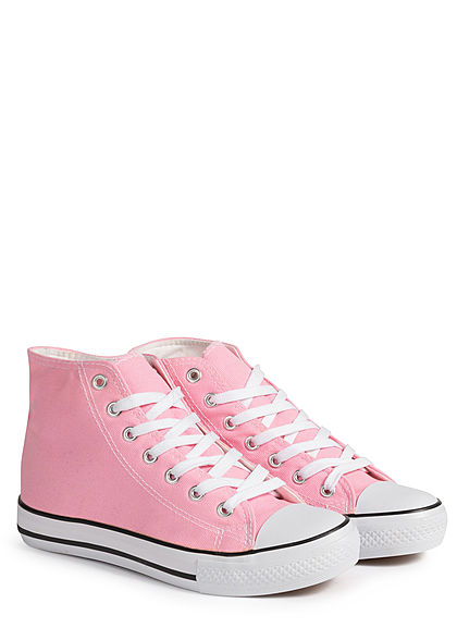 Seventyseven Lifestyle Damen Schuh High Canvas Sneaker pink rosa weiss