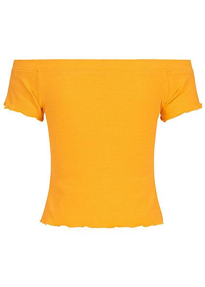 Urban Surface Damen Ribbed Carmen Shirt Frill am Saum senf gelb