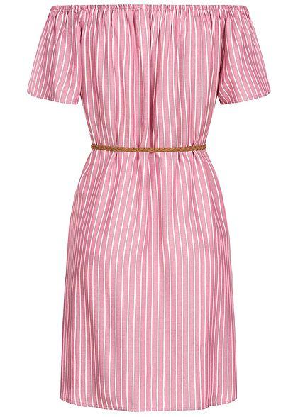 Urban Surface Damen Mini Off-Shoulder Kleid Streifen Muster inkl. Gürtel rosa weiss