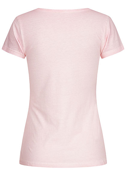 Eight2Nine Damen T-Shirt Knopfleiste Brusttasche washed Look shell rosa
