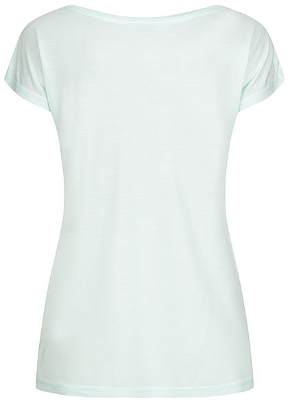 Sublevel Damen T-Shirt Cute But Prickly Print mint grün