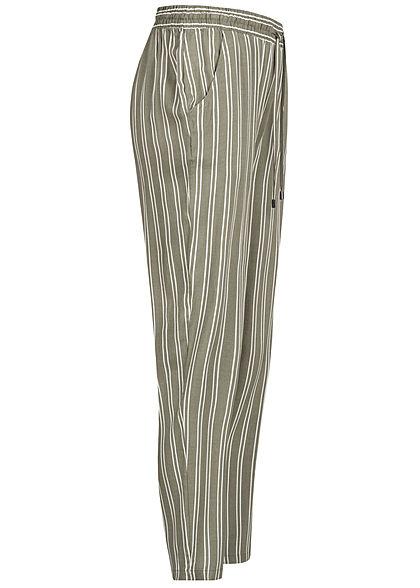 Sublevel Damen Viskose Sommer Hose 2-Pockets Streifen Muster oliv grün weiss