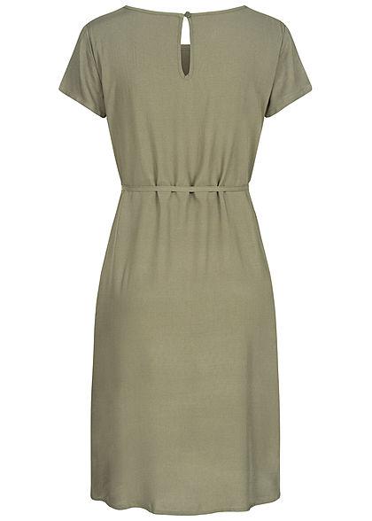 Fresh Made Damen Midi Viskose Kleid inkl. Bindegürtel ivy oliv grün
