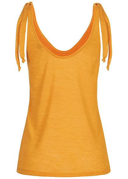 Fresh Made Damen V-Neck Träger Top mit Knoten oben an mango gelb