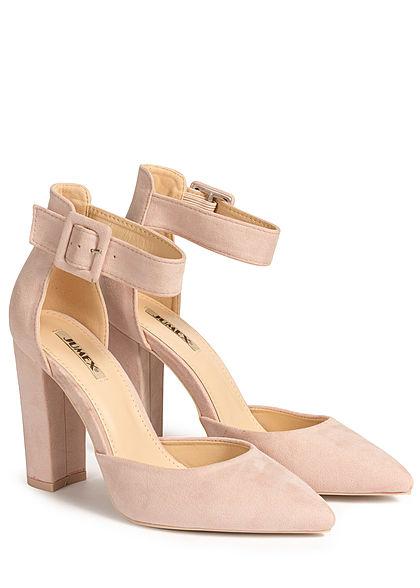Seventyseven Lifestyle Damen Schuh Sandalette Kunstleder Velour-Optik rosa