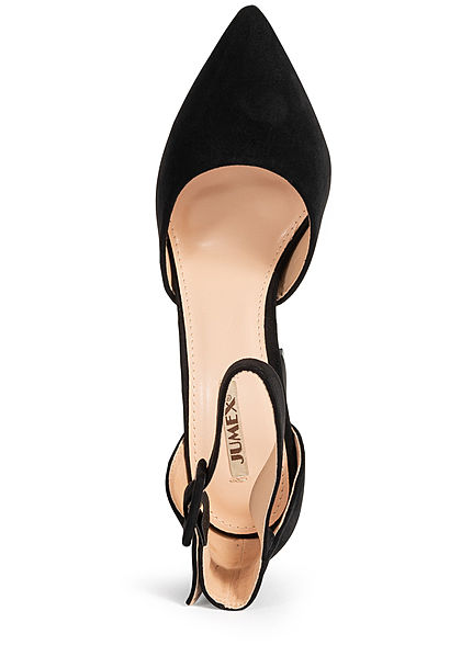 Seventyseven Lifestyle Damen Schuh Sandalette Kunstleder Velour-Optik schwarz