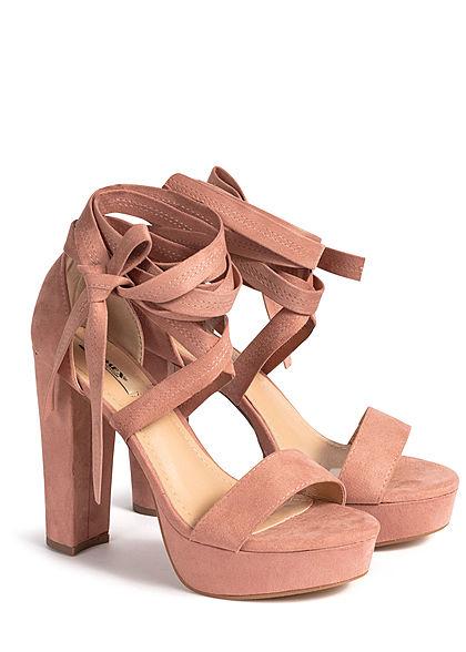 Seventyseven Lifestyle Damen Schuh Sandalette zum binden Velour-Optik old rosa