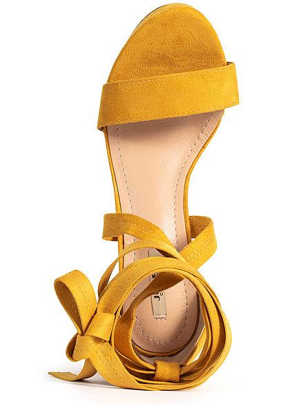Seventyseven Lifestyle Damen Schuh Sandalette zum binden Velour-Optik senf gelb