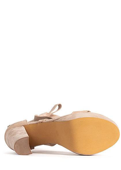 Seventyseven Lifestyle Damen Schuh Sandalette zum binden Velour-Optik beige