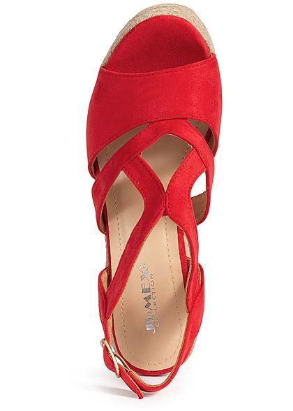 Seventyseven Lifestyle Damen Schuh Sandalette Keilabsatz 10cm Velour-Optik rot