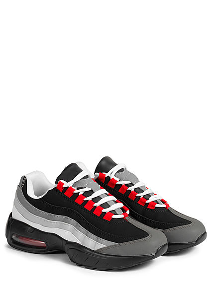 Seventyseven Lifestyle Herren Schuh Colorblock Sneaker dunkel grau schwarz rot