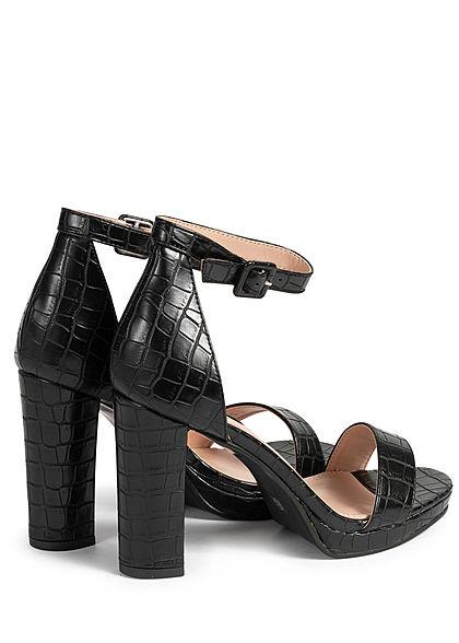 Seventyseven Lifestyle Damen Schuh Sandalette Schlangehaut Optik Kunstleder schwarz