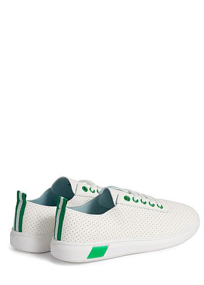 Seventyseven Lifestyle Damen Schuh 2-Tone Kunstleder Sneaker weiss grün