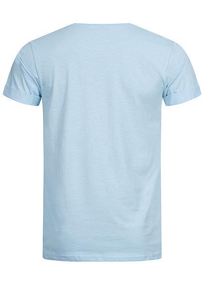 Stitch & Soul Herren T-Shirt Beach Vibes Print aqua blau