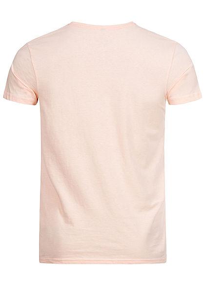 Stitch & Soul Herren T-Shirt Florida Print peach orange