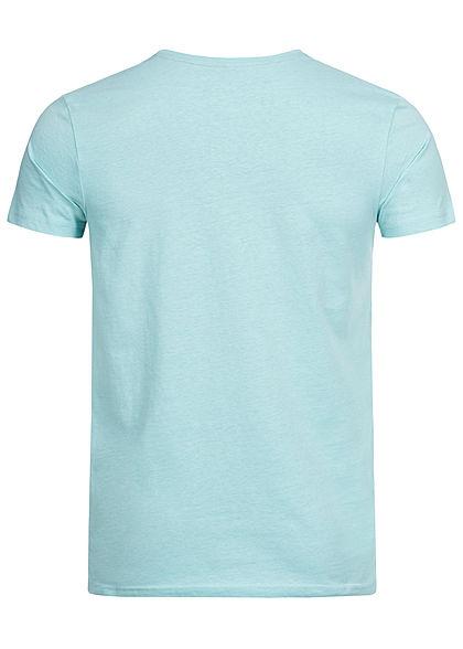 Stitch & Soul Herren T-Shirt Florida Print aqua sea türkis