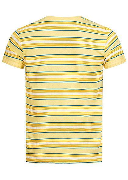 Stitch & Soul Herren T-Shirt Streifen Muster Brusttasche mimosa gelb multicolor