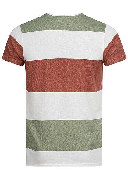 Sublevel Herren T-Shirt Colorblock Streifen Muster vintage oliv weiss terracotta