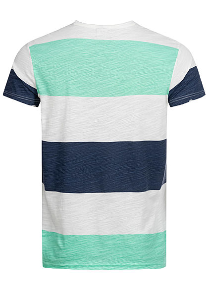 Sublevel Herren T-Shirt Colorblock Streifen Muster diving türkis weiss blau