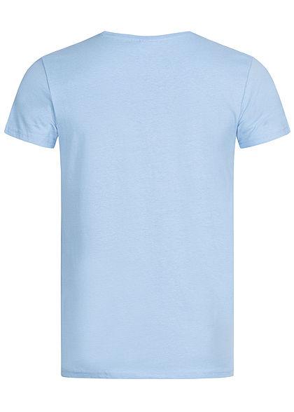 Sublevel Herren T-Shirt L.A. Sunset BLVD Print placid medium blau