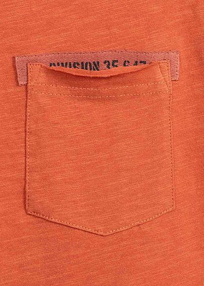 Sublevel Herren T-Shirt offene Kanten Brusttasche terracotta rot