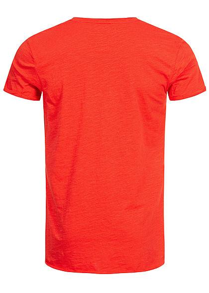 Eight2Nine Herren Longform T-Shirt offene Kanten by Sky Rebel flame scarlet rot