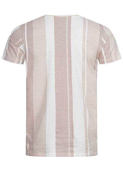 Stitch & Soul Herren T-Shirt Streifen Muster nude beige