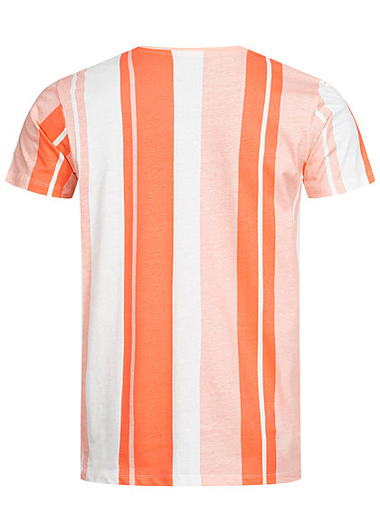 Stitch & Soul Herren T-Shirt Streifen Muster peach orange