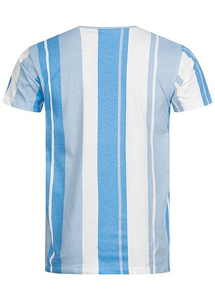 Stitch & Soul Herren T-Shirt Streifen Muster aqua blau