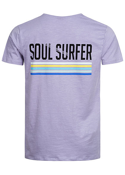 Stitch & Soul Herren T-Shirt Surfer Frontside & Backside Print viola lila