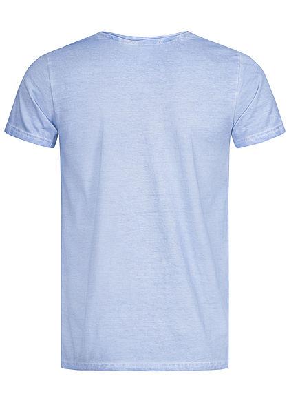 Urban Surface Herren Vintage T-Shirt Knopfleiste sky blau