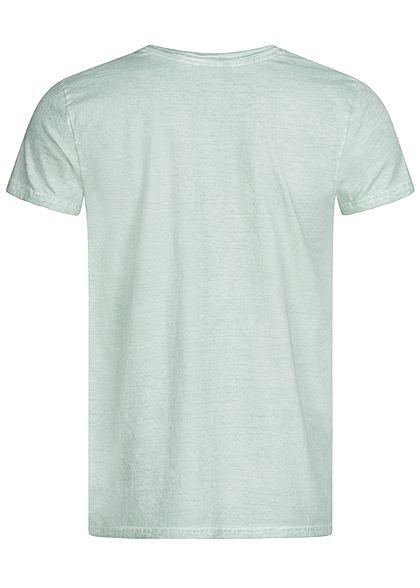 Urban Surface Herren Vintage T-Shirt Knopfleiste silt grün