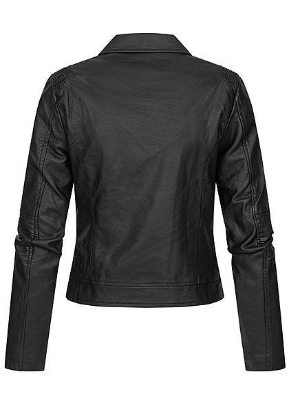 Hailys Damen Kunstleder Biker Jacke 2-Pockets asymmetr. Zipper schwarz