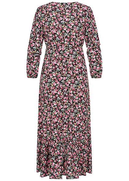 Hailys Damen V-Neck Maxi Kleid Blumen Muster Vokuhila schwarz multicolor